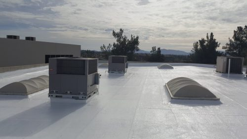 White commercial roofs.