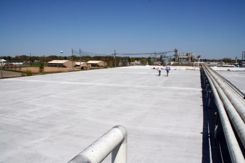 Single-ply roof membrane.